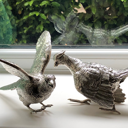A Large Pair Of Cast Silver Pheasants Made In London In 1972 By C J Vanders.