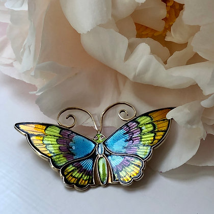 A Silver And Enamel Butterfly Brooch Made By David Andersen Of Norway.