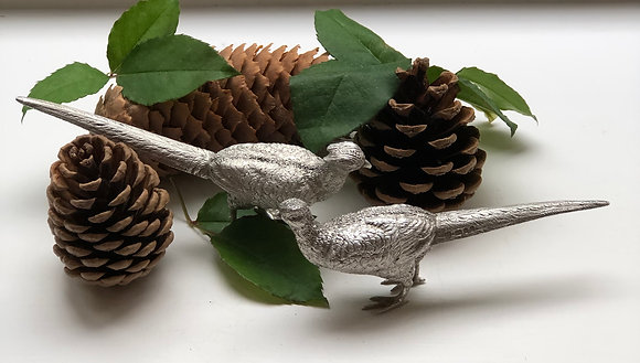 A Pair Of Silver Ornamental Pheasants London 1979.