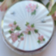 A Silver And Enamel Powder Bowl With A Blossom And Bee Decoration.