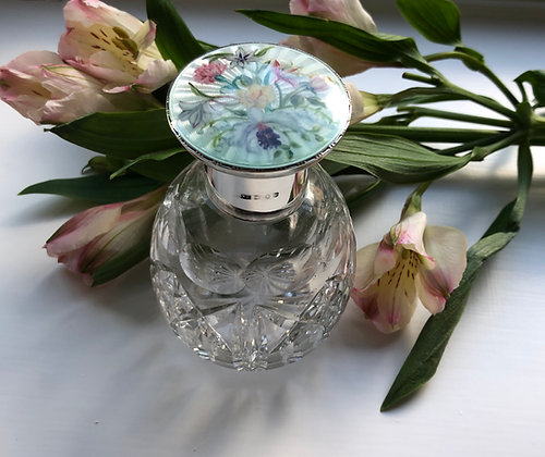 A Silver And Enamel Scent Bottle With A Beautiful Flower Decoration 1952.