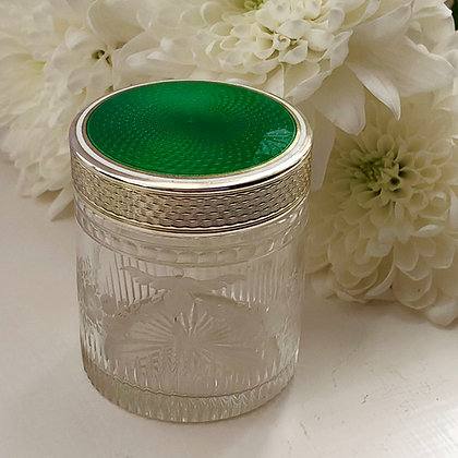 A French Silver And Enamel Dressing Table Jar Circa 1920