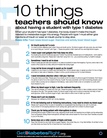 10 Things Teachers Should Know About T1D