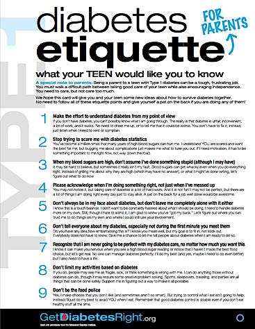 Diabetes Etiquette for Parents