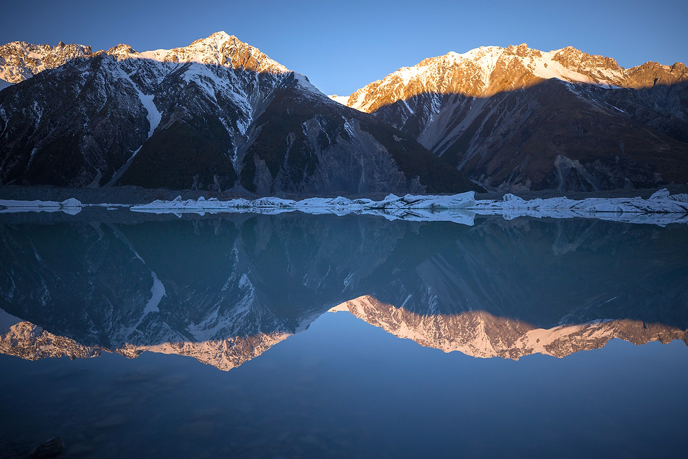 Mountains And Icebergs In Mount Cook