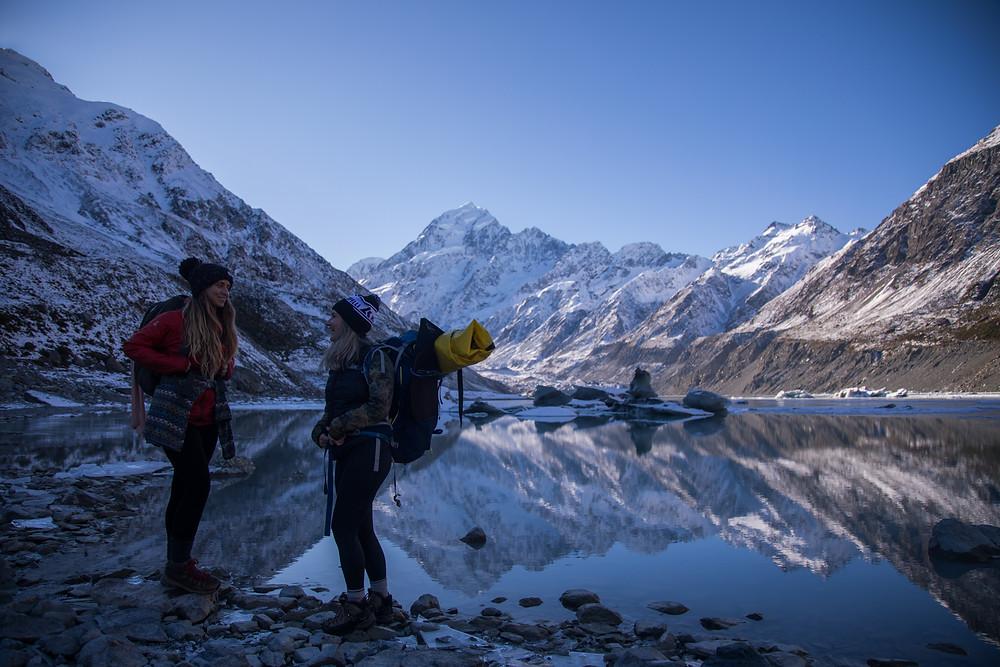 Hikers Preparing To Pack-raft And Explore Hooker Lake Mount Cook