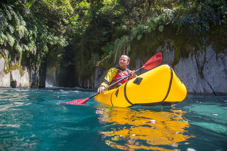 Barny Young pack rafting New Zealands Hokitika River. Barny Young is an expereinced white water kayaker and pack rafter. He is the founder of Pack Raft New Zealand and exclusive New Zealand distributer of Kokopelli Packrafts and Accessories.
