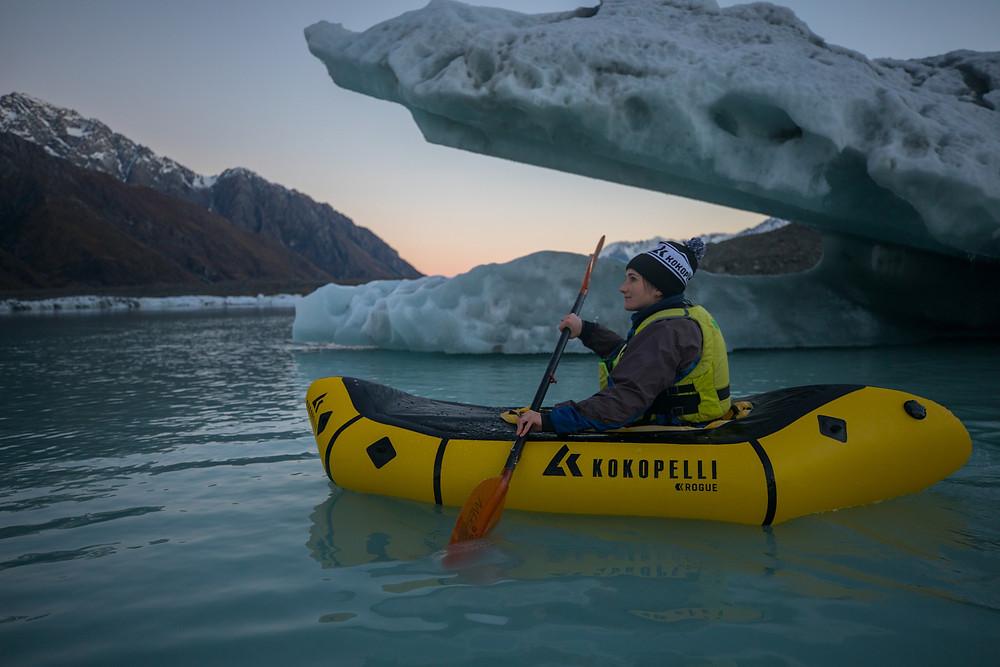 Jody Direen Pack-rafting With Giant Icebergs On Tasman Lake Mount Cook