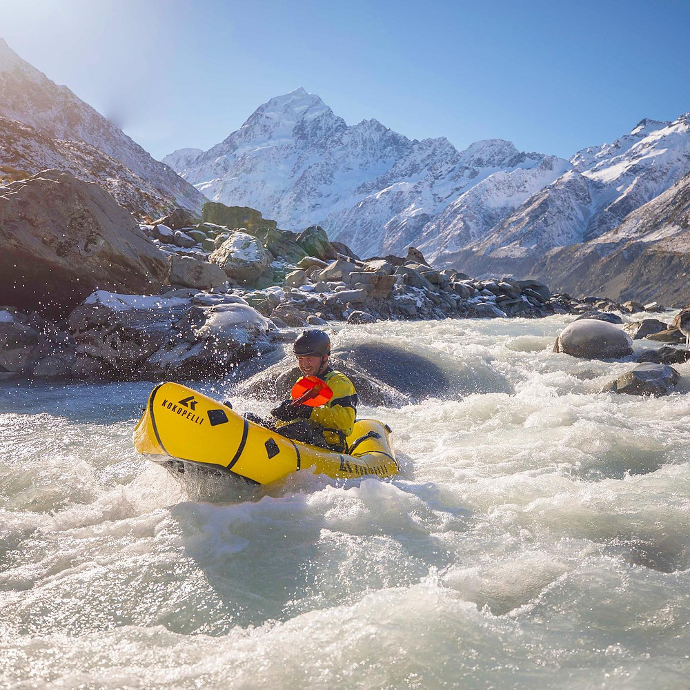 Whitewater Pack-rafter Paddling Class III Rapid Hooker River Mount Cook