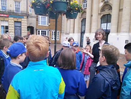 Birch Class play detectives in Banbury Market Square.