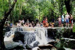 enjoying the waterfall