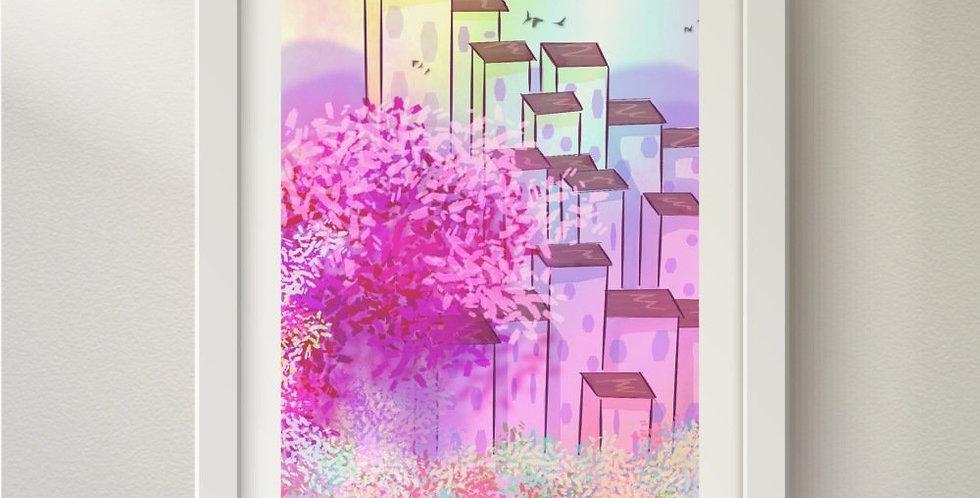 """Illustration """"Ville rose"""""""