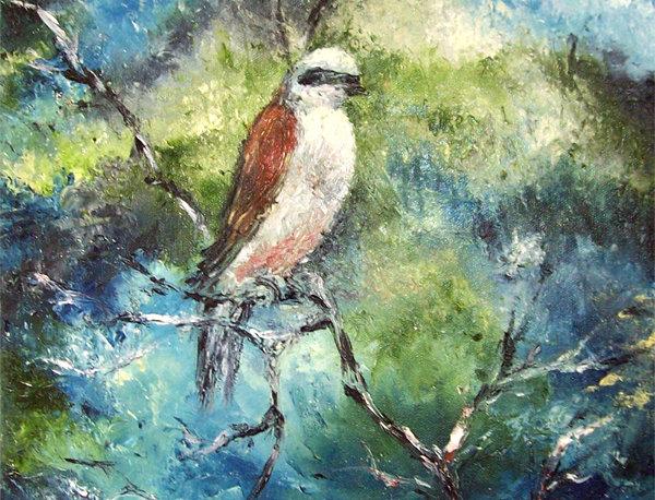 """Peinture """"Oiseau dans la ramée"""""""