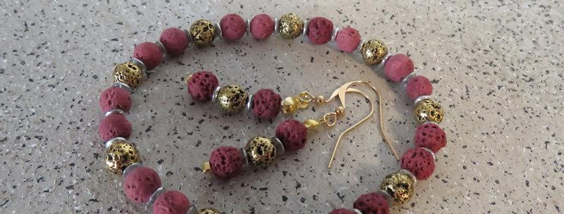Bracelets + boucles perles de lave