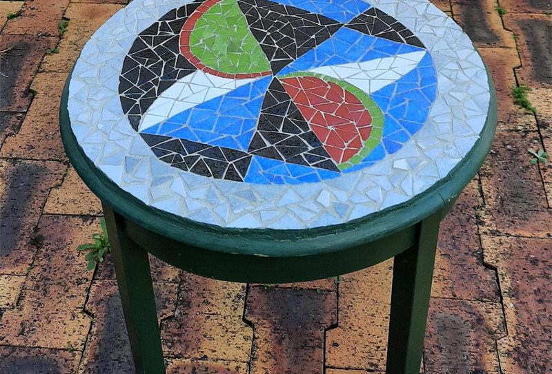 """Mosaïque """"Table bois Emaux de briare"""""""