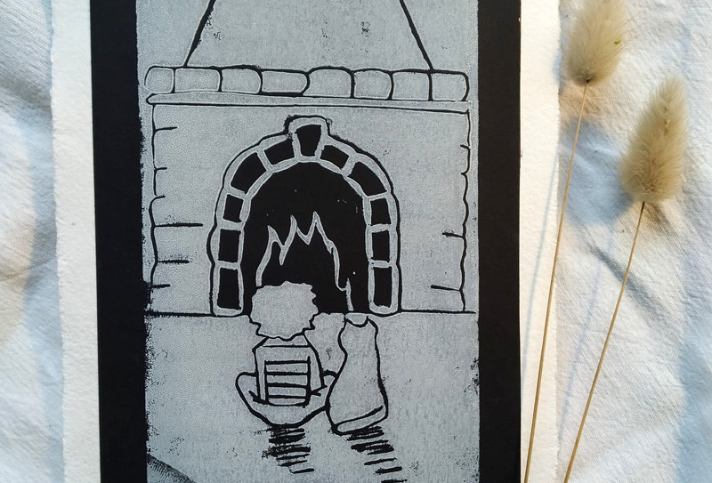 Linogravure au coin du feu