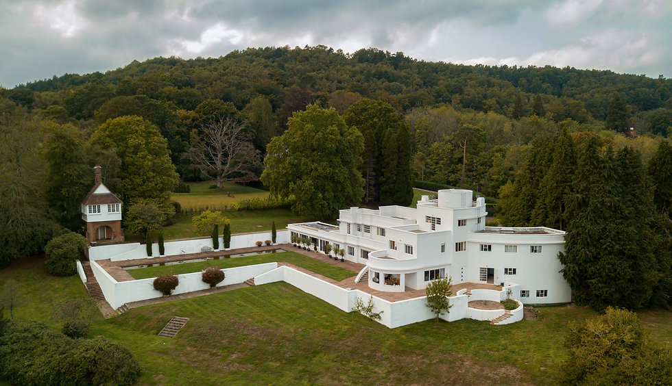 Joldwynds back of house - drone view - Oliver Hill iconic 1930s modernist architecture. Photo by Andrés Pachón