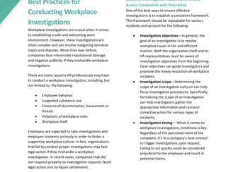 Best Practices for Workplace  Investigations