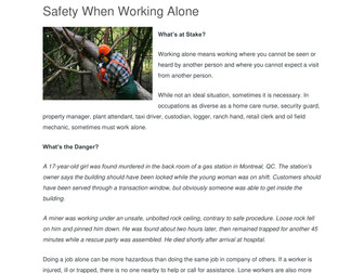 Safety in Working Alone