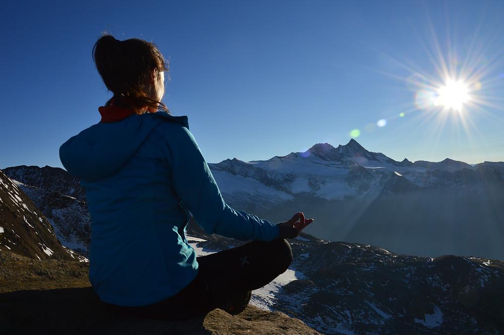Sunrise mountain meditation with Barbara van der Meer