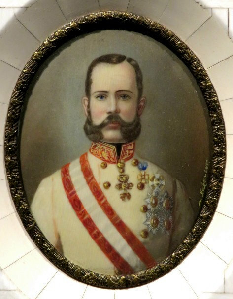 A Signed Portrait Miniature on Ivory of Kaiser Franz Joseph von Osterreich