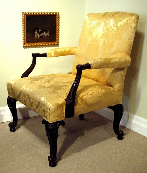 Fine George III Style Upholstered Library Chair, English Circa 1870