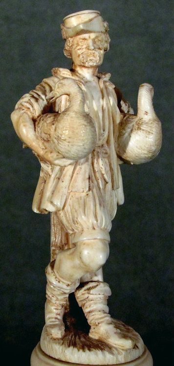 19th Century Ivory Figure of 'The Goose Man Fountain', German School Circa 1880