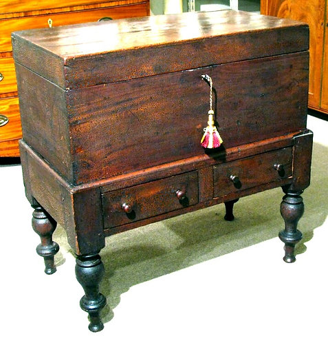 Mid 19th Century Anglo-Colonial Sugar Chest in Solid Mahogany