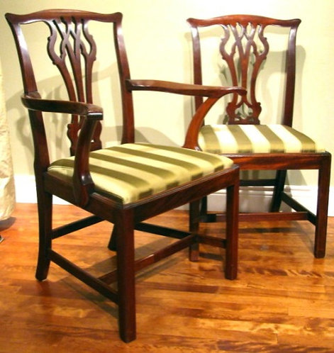 A Fine Set of Eight Georgian-Style Mahogany Framed Dining Chairs, English Circa