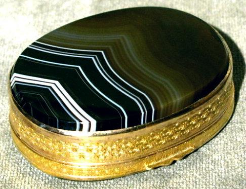 Large 19th Century Gilt Metal & Agate Snuff Box, Scottish Circa 1800