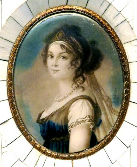 19th Century Portrait Miniature on Ivory of Queen Louise Augusta of Prussia