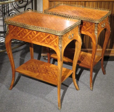 A Very Good Pair of Louis XV Style Mahogany Parquetry End Tables, Circa 1950