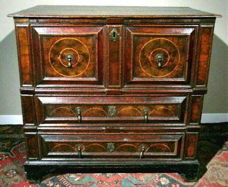 Fine and Rare Charles II Oyster-Veneered Two Part Chest of Drawers in Oak