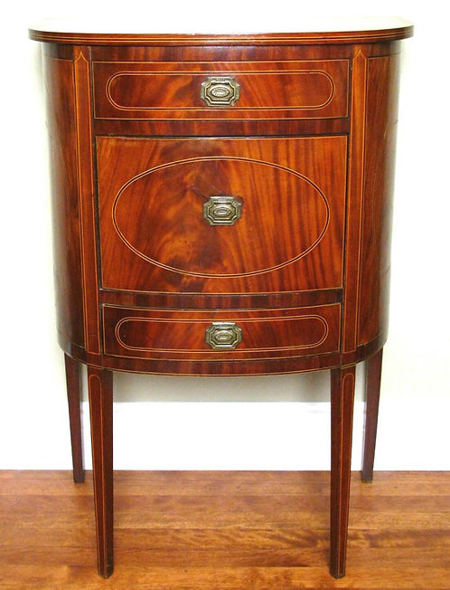 Fine 18th Century Inlaid Mahogany Bow Fronted Commode, English Circa 1790