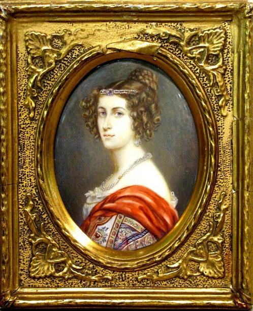 'Amalie von Schintling' A 19th Century Biedermeier Period Portrait Miniature