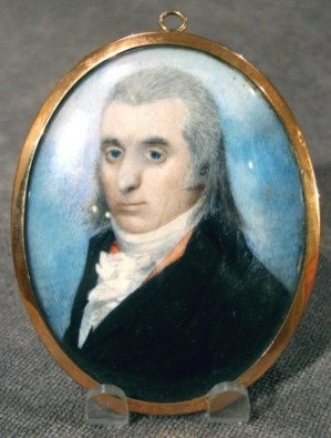 Early 19th Century Portrait Miniature on Ivory of a Gentleman in a Black Tunic