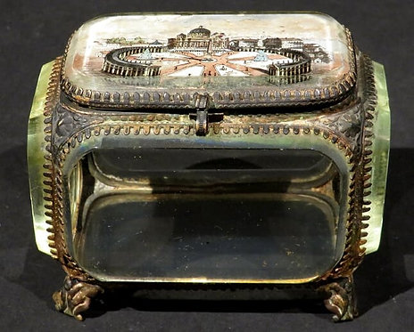 A Late 19th Century Glass Casket Depicting Saint Peter's Square