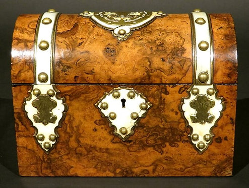 A Burl Walnut & Brass Bound Document Box / Jewellery Casket, England Circa 1860
