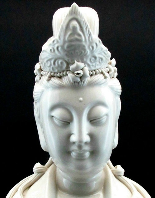 A Fine and Very Large Chinese Blanc de Chine Porcelain Figure of Guanyin, 20th C