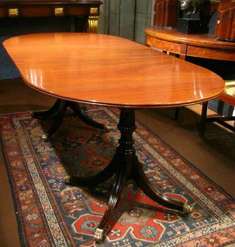 Very Good Georgian Double Pedestal Mahogany Dining Table, English Circa 1820