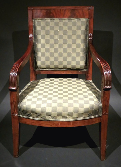A Fine Empire Period Mahogany Framed Fauteuil, France Circa 1815