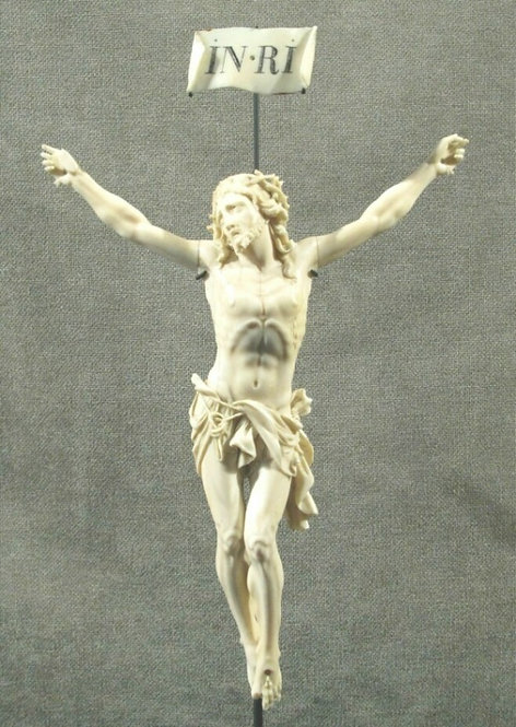 18th Century Flemish Ivory Corpus executed in the Manner of Francois Duquesnoy