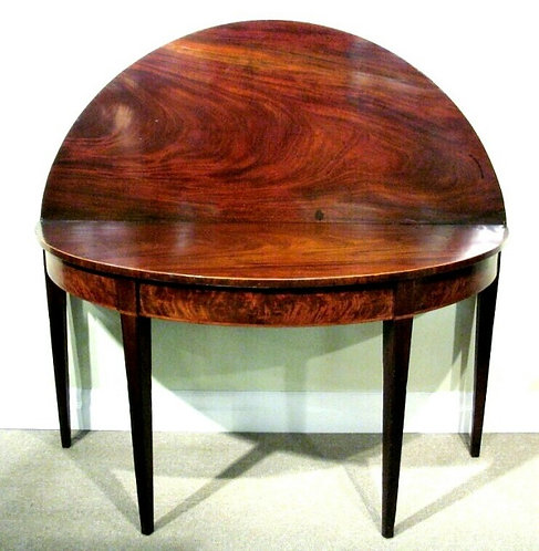 George III Fold Over Dem- Lune Console Table In Figured Mahogany, English