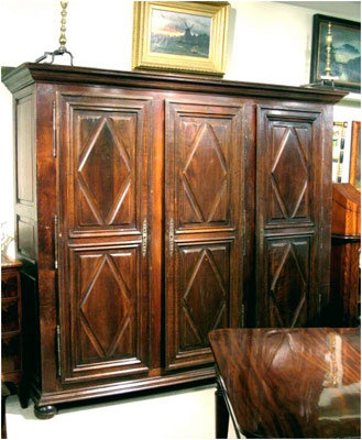 18th Century-Style Diamond-Point Armoire,  France Circa 1900