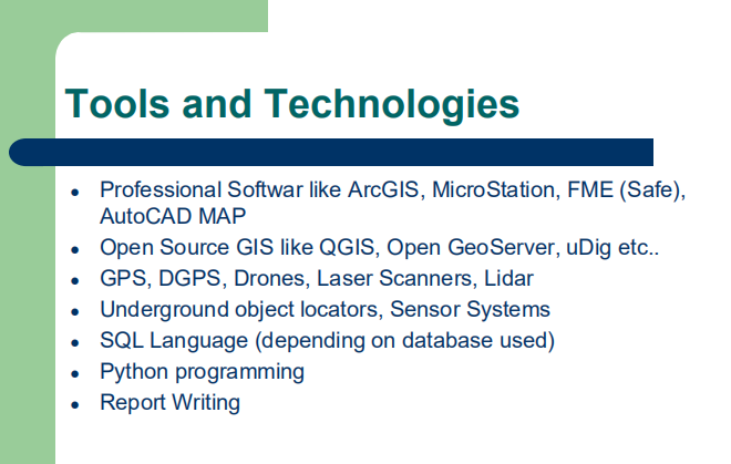 tools & technologies for GIS