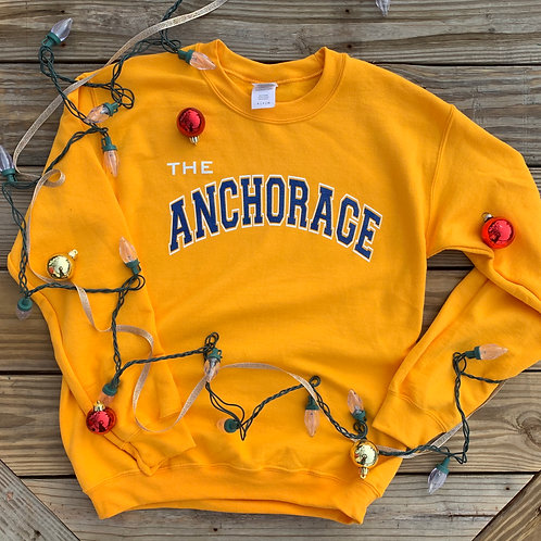 Gold Crew Neck Anchorage Sweatshirt
