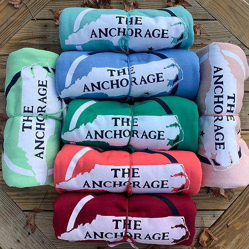 Green Anchorage Sweatshirt Blanket