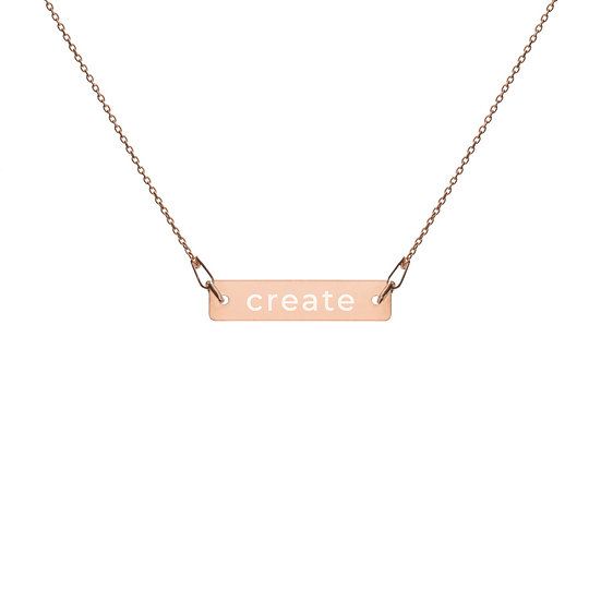 """""""Create"""" Engraved Bar Chain Necklace"""
