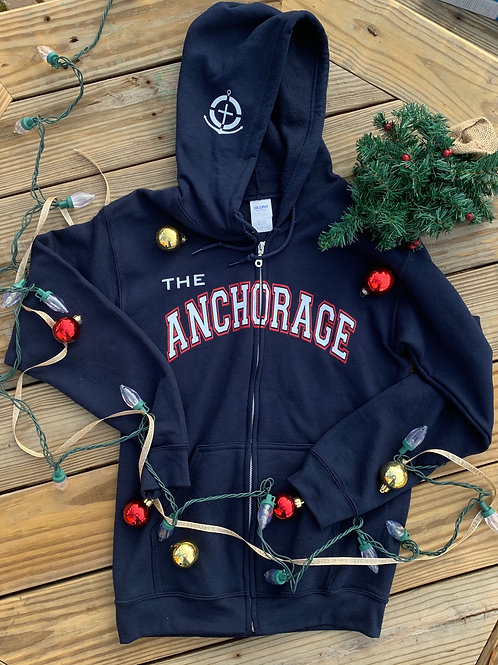 Navy Zip-Up Anchorage Hoodie
