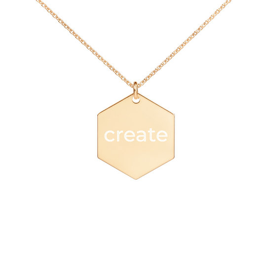 """Create"" Engraved Hexagon Necklace"